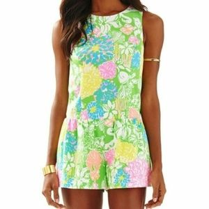 Lilly Pulitzer Gretch Romper Hibiscus Stroll 8 NWT
